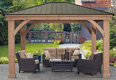 Fine 12 X 14 Wood Gazebo With Aluminium Roof Yardistry Home Interior And Landscaping Spoatsignezvosmurscom