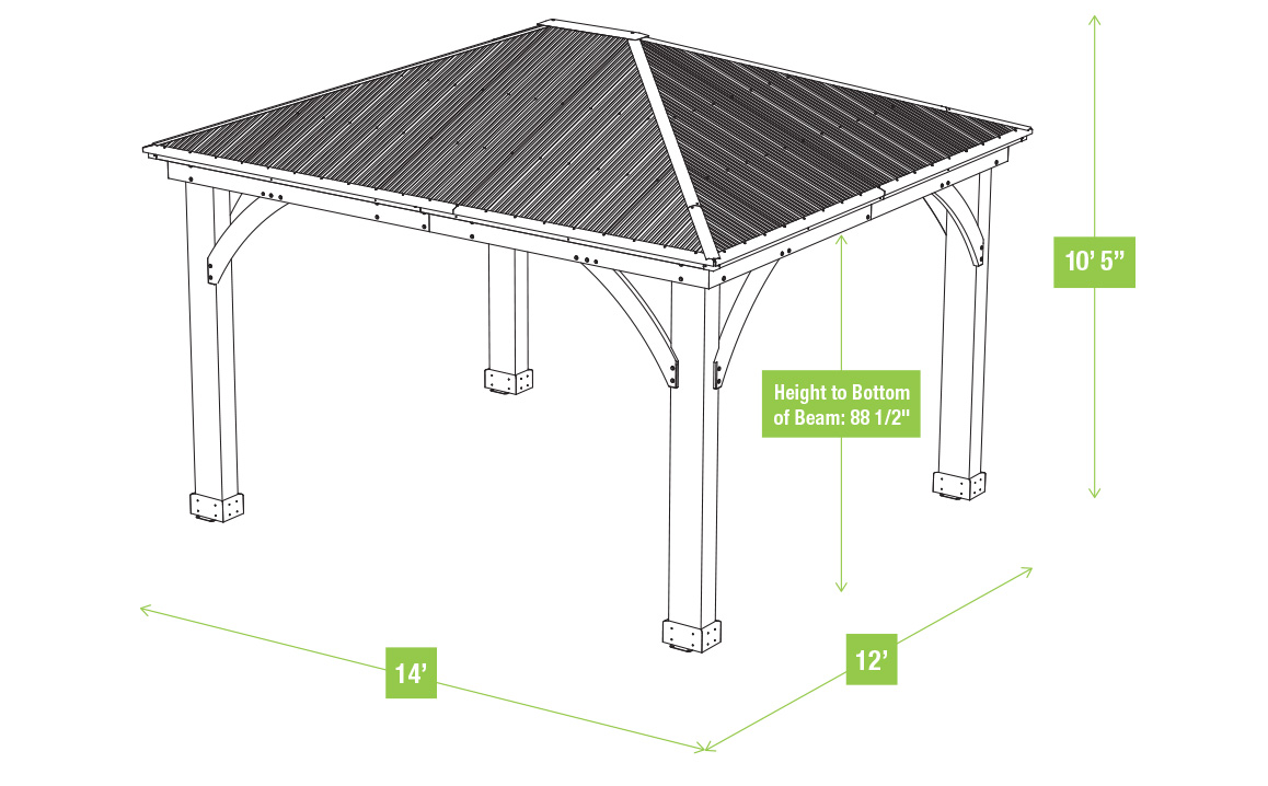 12 X 14 Wood Gazebo With Aluminium Roof Yardistry