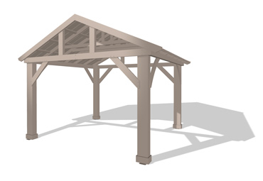 14 x 12 Wood Pavilion With Aluminium Roof